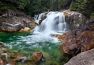 A Summer evening at Lower Falls on Gold Creek at Golden Ears Provincial Park, Maple Ridge, British Columbia, Canada.
