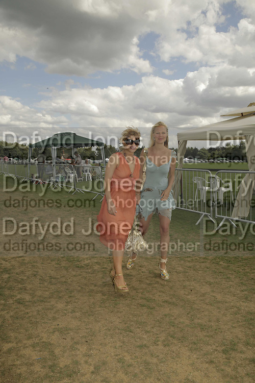 Constance Gotsopoulou and Annabel Wolowicz, Cartier International Polo. Guards Polo Club. Windsor Great Park. 30 July 2006. ONE TIME USE ONLY - DO NOT ARCHIVE  © Copyright Photograph by Dafydd Jones 66 Stockwell Park Rd. London SW9 0DA Tel 020 7733 0108 www.dafjones.com
