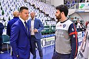 Edoardo Casalone, Simone Giofrè<br /> Banco di Sardegna Dinamo Sassari - Happy Casa Brindisi<br /> LBA Serie A Postemobile 2018-2019 Playoff Quarti di Finale Gara 1<br /> Sassari, 18/05/2019<br /> Foto L.Canu / Ciamillo-Castoria