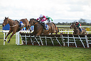 """Horse Racing - Fairyhouse Easter Festival, Monday 28th March 2016<br /> Jack Kennedy on Just Cause clears the last and goes on to win the """"Fleet Connect Handicap Hurdle""""<br /> Photo: David Mullen /www.cyberimages.net / 2016"""