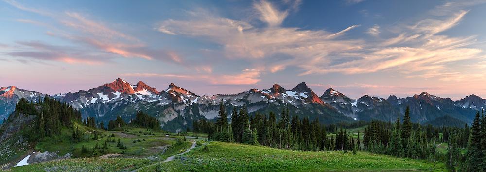 Panorama of the Tatoosh Range from Mazama Ridge in Mount Rainier National Park, Washington State, USA.