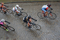 Julie Leth (Wiggle High5) across the wet cobbles at the 112.8 km Le Samyn des Dames on March 1st 2017, from Quaregnon to Dour, Belgium. (Photo by Sean Robinson/Velofocus)