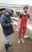 """Putney. London. GREAT BRITAIN;  GBR LM1X. Peter HAINING interviewed by the Times Rowing correspondent, Mike ROSEWELL after the race.<br /> <br /> 1995 Thames World Sculling Championships, Putney to Mortlake. Championship Course, River Thames.<br /> <br /> [Mandatory Credit; """"Photo, Peter Spurrier/Intersport-images]"""