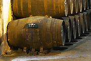 barrels with aging wine ferreira port lodge vila nova de gaia porto portugal