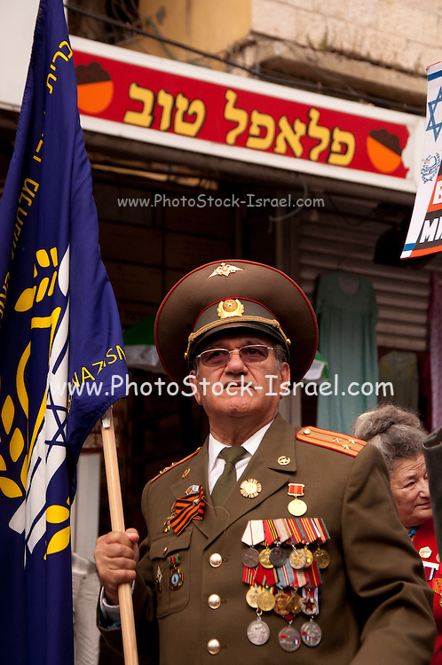Russian Army veteran with medals on his chest. Photographed in Israel