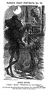 "Punch's Fancy Portraits No 75 Henry Irving. ""Romeo! Romeo! Wherefore Art Thou Romeo!"" Shakespeare. (*** But had the Divine Williams witnessed the performance, he might have been able to satisfy his own query.)"