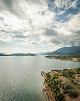 Aerial view of the coastline at Fokida, Greece