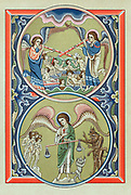 Resurrection of the dead and weighing of souls at the Last Judgement. Chromolithograph after 13th century Psalter.