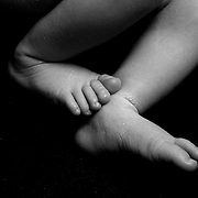 A studio portrait of a newborn baby girls feet. Photo Tim Clayton