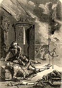 George Wilhelm Richmann (1711-1753)  professor of Natural History at St Petersburg, Russia.  Already interested in the electrical nature of thunderstorms, he repeated Benjamin Franklin's kite experiment and was killed by ball-lightning on 6 August 1753. The first person to be killed while conducting an electrical experiment.  Engraving from 'Les Merveilles de la Science' by Louis Figuier (Paris c1870).