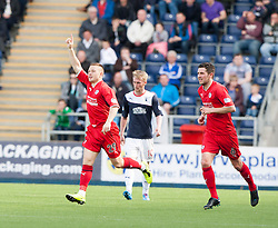 Raith Rovers John Baird celebrates their goal.<br /> half time : Falkirk 2 v 1 Raith Rovers, Scottish Championship game played today at The Falkirk Stadium.<br /> © Michael Schofield.