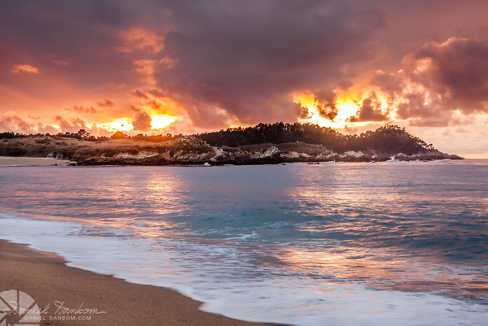 Sunset from Monastery Beach, looking toward Point Lobos, along Highway 1, Monterey Peninsula, California