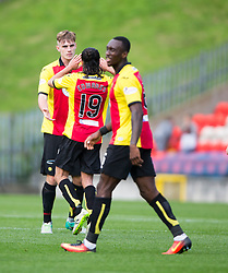 Partick Thistle's Liam Lindsay (5) celebrates after scoring their goal. Partick Thistle 1 v 2 Hearts, Ladbrokes Premiership match played 27/89/2016 at Firhill.