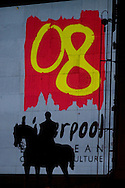 A statue is silhouetted by the logo for 2008 European Capital of Culture at the opening ceremony for the year-long event. Former Beatles drummer Ringo Starr was the main attraction at an open air event in the city centre which kicked off a year of cultural and arts events. Liverpool was the first British city since Glasgow in 1990 to be a Capital of Culture.