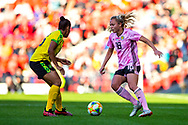 Claire Emslie (#18) of Scotland takes on Dominique Bond-Flasza (#16) of Jamaica during the International Friendly match between Scotland Women and Jamaica Women at Hampden Park, Glasgow, United Kingdom on 28 May 2019.