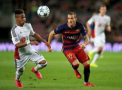 Bayer Leverkusen's Wendell (left) and Barcelona's Sandro Ramirez in action.