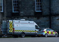 Emergency services rushed to the Palace of Holyroodhouse in Edinburgh after reports of a suspicious package.<br /> <br /> © Dave Johnston/ EEm