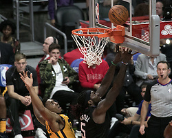 November 30, 2017 - Los Angeles, California, United States of America - Montrezl Harrell #5 of the Los Angeles Clippers dunks the ball during their game with the Utah Jazz on Thursday November 30, 2017 at the Staples Center in Los Angeles, California. Clippers lose to Jazz, 126-107. JAVIER ROJAS/PI (Credit Image: © Prensa Internacional via ZUMA Wire)