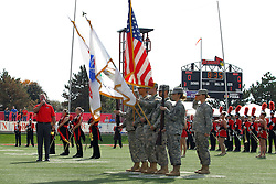 """29 October 2016:  James Cornelison sings """"The Star-Spangled Banner"""" and """"O Canada"""" at the beginning of home games for the Chicago Blackhawks takes the 40 yard line and performs the national anthem before the NCAA FCS Football game between South Dakota State Jackrabbits and Illinois State Redbirds at Hancock Stadium in Normal IL (Photo by Alan Look)"""