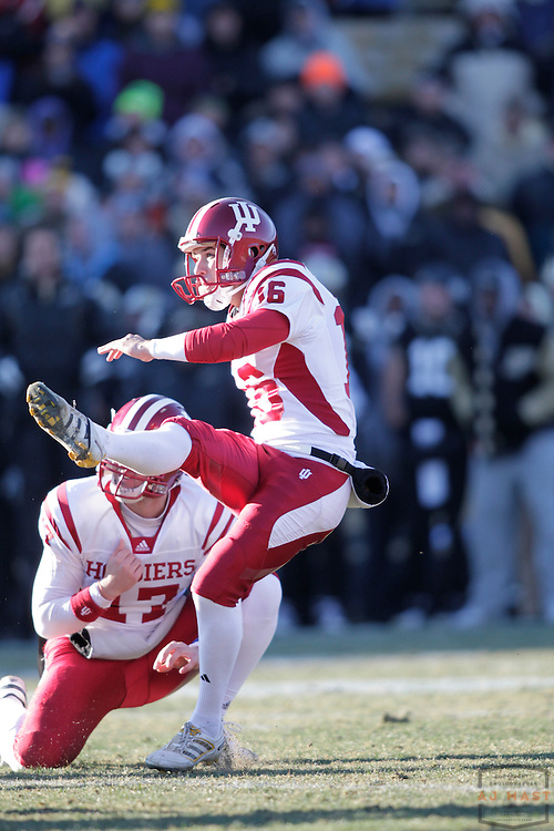 27 November 2010:  Indiana Hoosiers kicker Mitch Ewald (16) as the Purdue Boilermakers played the Indiana Hoosiers in a college football game in West Lafayette, Ind.