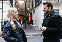 Tax associate Sarah, 28, talks with Bild journalist Philip Fabian about Brexit in London. London, January 16 2019.