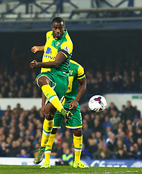 Sebastien Bassong of Norwich City scores the opening goal to make it 0-1  - Mandatory byline: Matt McNulty/JMP - 07966 386802 - 27/10/2015 - FOOTBALL - Goodison Park - Liverpool, England - Everton v Norwich City - Capital One Cup