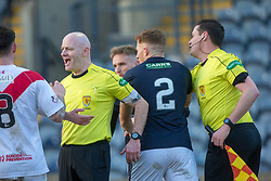 Ref Craig Charleston as Airdrie's Kieran Masdonald and Raith Rovers Bobby Barr have a little shoving match. Raith Rovers 2 v 1 Airdrie, Scottish Football League Division One game played 10/2/2018 at Stark's Park, Kirkcaldy.