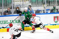 Ales Music of HK SZ Olimpija vs Jaka Sodja of HDD SIJ Acroni Jesenice during ice hockey match between HK SZ Olimpija and HDD SIJ Acroni Jesenice in first game of Final at Slovenian National League, on April 30, 2020 in Hala Tivoli, Ljubljana, Slovenia. Photo by Matic Klansek Velej / Sportida