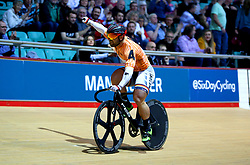 Robert Forstemann celebrates after winning the Men's Sprinters Keirin Final on Day Three of the Six Day Series Manchester at the HSBC UK National Cycling Centre.