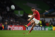 Dan Biggar of Wales kicks a penalty. Rugby World Cup 2015 pool A match, England v Wales at Twickenham Stadium in London, England  on Saturday 26th September 2015.<br /> pic by  Andrew Orchard, Andrew Orchard sports photography.