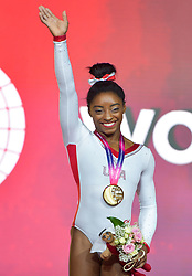 DOHA, Nov. 3, 2018  Simone Biles of the United States poses on the podium during the medal ceremony of women's vault final at the 2018 FIG Artistic Gymnastics World Championships in Doha, capital of Qatar, Nov. 2, 2018. (Credit Image: © Yangyuanyong/Xinhua via ZUMA Wire)