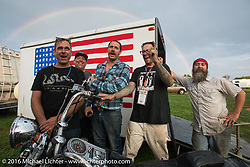 "The ""Chopper Dude"" team sings ""Somewhere over the Rainbow"" after the hosted dinner at Coker Tires in Chattanooga, Tennessee after the finish of stage 3 of the Motorcycle Cannonball Cross-Country Endurance Run, which on this day ran from Columbus, GA to Chatanooga, TN., USA. Sunday, September 7, 2014.  Photography ©2014 Michael Lichter."