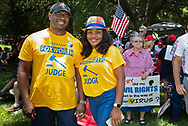 """Tiffany Foxworth at a """"Save America Rally"""" in Baton Rouge on the 4th of July across the street from the Governor's Mansion. The 4th of July rally was organized by Jeff Crouer, Mimi Owens and Woody Jenkins, chairman of the executive committee for the Republican Party in East Baton Rouge Parish. Rev. Tony Spell of Life Tabernacle Church who has held church services in defiance of a stay-at-home order throughout the pandemic was one of the speakers. He an other speakers expressed their displeasure of being told to wear a mask to prevent the spread of Covid-19 and the removal of confederate monuments."""