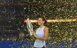 WUHAN, Sept. 30, 2017 Caroline Garcia of France poses with the trophy on the awarding ceremony after winning the singles final match against Ashleigh Barty of Australia at 2017 WTA Wuhan Open in Wuhan, capital of central China's Hubei Province, on Sept. 30, 2017. Caroline Garcia won 2-1. wdz) (Credit Image: © Cheng Min/Xinhua via ZUMA Wire)