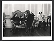 Megan Davies, Catherine FitzGerald, katherine Guinness. Sarah Harvey-Kelly, Lady Tara Crichton, Jago Irwin at a New Year's Eve Party given by Erskine & Louise Guinness. Knockmaron House. Dublin. 1 January 1988.Exhibition in a Box