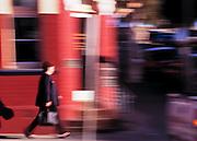 Pedestrian walking along street