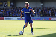 AFC Wimbledon midfielder Scott Wagstaff (7) dribbling during the EFL Sky Bet League 1 match between AFC Wimbledon and Oxford United at the Cherry Red Records Stadium, Kingston, England on 29 September 2018.