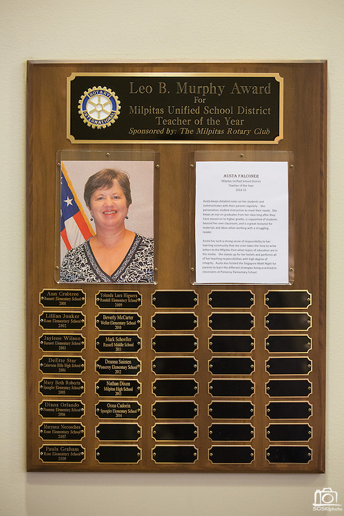Austa Falconer receives the Rotary Club Leo B. Murphy Award for MUSD Teacher of the Year at the Milpitas Public Library in Milpitas, California, on August 31, 2015. (Stan Olszewski/SOSKIphoto)
