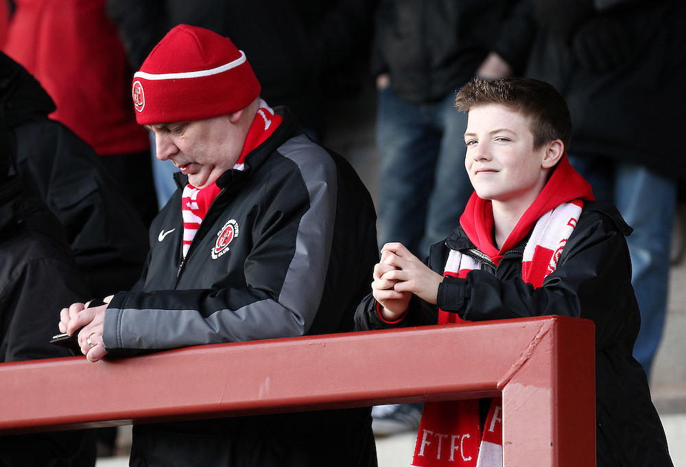 Fleetwood Town fans wait for kick-off<br /> <br /> Photographer Rich Linley/CameraSport<br /> <br /> Football - The Football League Sky Bet League One - Fleetwood Town v Oldham Athletic - Saturday 17th January 2015 - Highbury Stadium - Fleetwood<br /> <br /> © CameraSport - 43 Linden Ave. Countesthorpe. Leicester. England. LE8 5PG - Tel: +44 (0) 116 277 4147 - admin@camerasport.com - www.camerasport.com