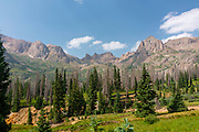 Photograph of Chicago Basin, Weminuche Wilderness, San Juan National Forest, near Silverton, La Plata County, Colorado, USA.