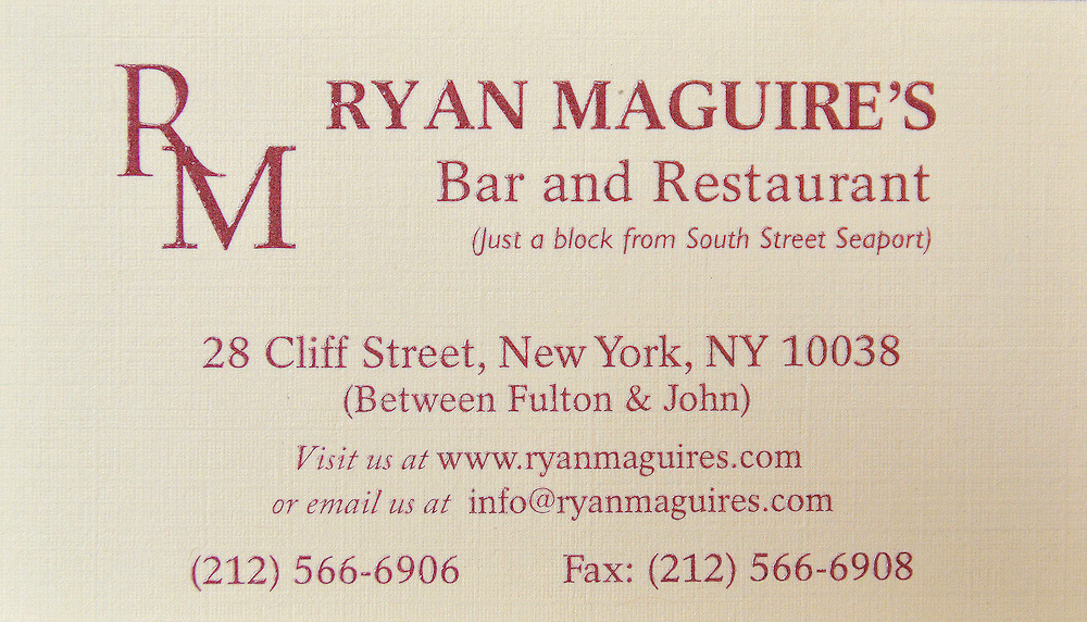 Photograph of Ryan Maguire's in the Financial District in New York.