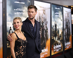 "Elsa Pataky and Chris Hemsworth attend the premiere of ""12 Strong"" at Jazz at Lincoln Center's Frederick P. Rose Hall in New York"