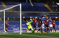 Birmingham City's Maikel Kieftenbeld scores his side's first goal of the game during the Carabao Cup, Second Round match at St Andrew's, Birmingham.