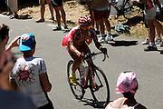 France, Sallanches, 25 July 2009: An unidentified Cofidis, Le Credit en Ligne, rider heads up Mont Ventoux during the penultimate Stage 20 - Montélimar to Mont Ventoux. Images from 2009 Tour de France cycle race. Photo by Peter Horrell / http://peterhorrell.com .