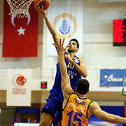 Anadolu Efes's Furkan Korkmaz (C) during their Turkish Basketball Super League match Istanbul BBSK between Anadolu Efes at Cebeci Arena in Istanbul Turkey on Sunday 29 November 2015. Photo by Aykut AKICI/TURKPIX