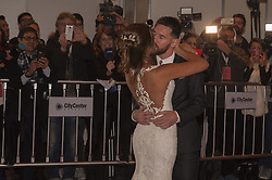 June 30, 2017 - Buenos Aires, Buenos Aires, Argentina - Lionel Messi and his wife, long time sweetheart Antonela Roccuzzo, meet the press after their wedding ceremony.The ceremony and party had over 250 guests that included his fellow Barcelona F.C. players, pop star Shakira, family and childhood friends. (Credit Image: © Patricio Murphy via ZUMA Wire)