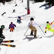 Skiers bombard the Teton Lift wiggle on Gaper Day at Jackson Hole Mountain Resort.