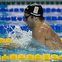 Arno Kamminga of Netherlands competes in the Men's 200m Breaststroke final of the FINA Swimming World Cup held in Budapest, Hungary on Oct. 9, 2021. ATTILA VOLGYI