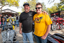 Metalcraft Wheels General Manager Mark Ashton with master builder Fred Kodlin of Germany at the Perewitz Paint Show at the Broken Spoke Saloon during Daytona Beach Bike Week, FL. USA. Wednesday, March 13, 2019. Photography ©2019 Michael Lichter.