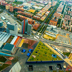 Aerial views of downtown Barcelona Spain